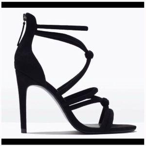 Zara Black knitted suede ankle strap heels
